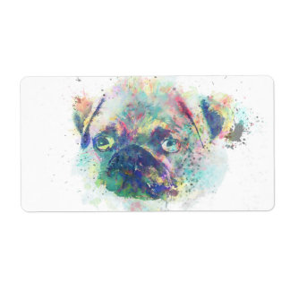 Cute pug puppy watercolor splatters paint shipping label