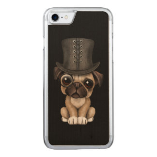 Cute Pug Puppy with Monocle and Top Hat Black Carved iPhone 8/7 Case