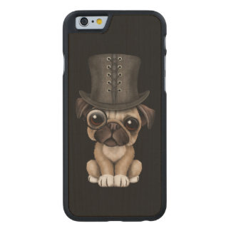 Cute Pug Puppy with Monocle and Top Hat Black Carved Maple iPhone 6 Case