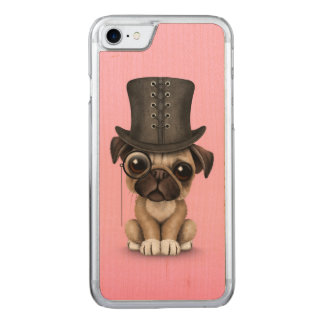 Cute Pug Puppy with Monocle and Top Hat Pink Carved iPhone 8/7 Case