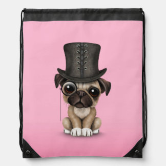 Cute Pug Puppy with Monocle and Top Hat Pink Drawstring Bag