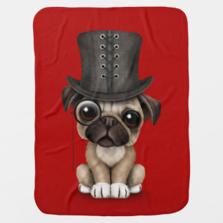 Cute Pug Puppy with Monocle and Top Hat Red Baby Blanket
