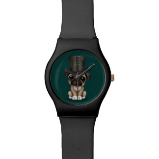 Cute Pug Puppy with Monocle and Top Hat Teal Watch