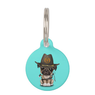 Cute Pug Puppy Zombie Hunter Pet Name Tag