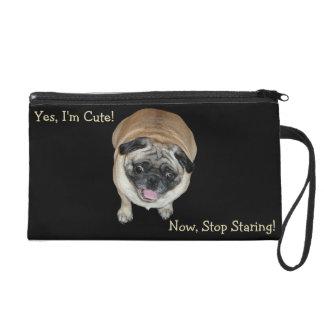 Cute Pug Stop Staring Wristlet Bag
