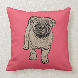 Cute Pug Throw Pillow 51 cm x 51 cm -Red