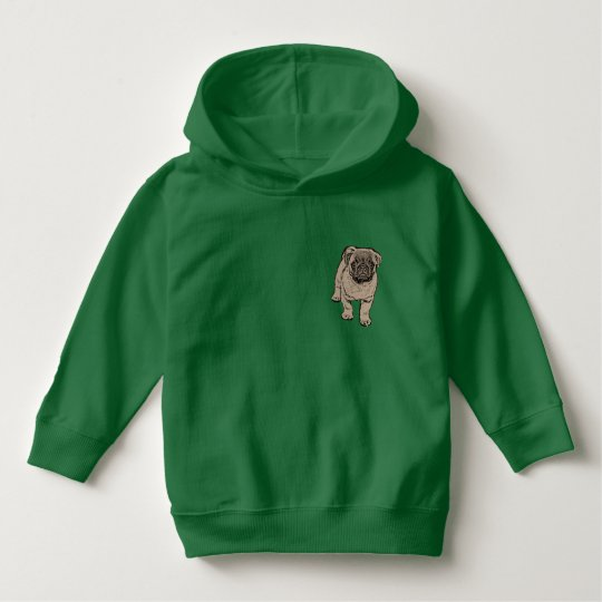 Cute Pug Toddler Pullover Hoodie -Green