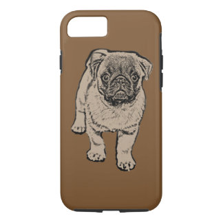 Cute Pug Tough iPhone 7 Case - Brown