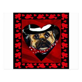 Cute Pug Valentine Post Card