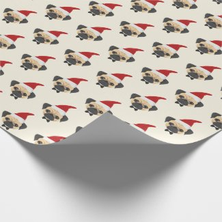 Cute Pug with Santa Hat Pattern Christmas Wrapping Paper