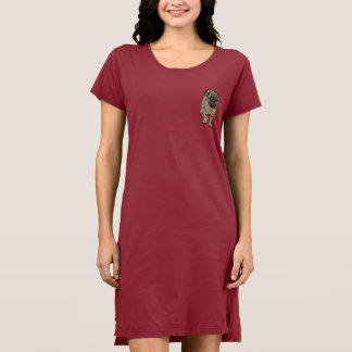 Cute Pug Women's Alternative Pocket Dress -Red