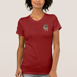Cute Pug Women's Fitted Pocket T-Shirt - Dark Red