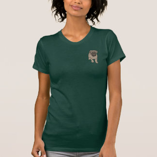 Cute Pug Women's Fitted Pocket T-Shirt - Forest