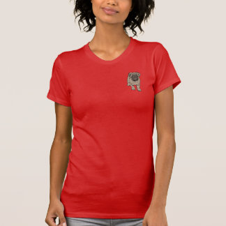 Cute Pug Women's Fitted Pocket T-Shirt - Red