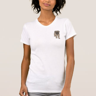 Cute Pug Women's Fitted Pocket T-Shirt - White