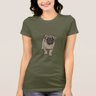 Cute Pug Women's Fitted T-Shirt - Army Green