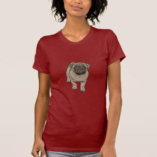 Cute Pug Women's Fitted T-Shirt - Dark Red
