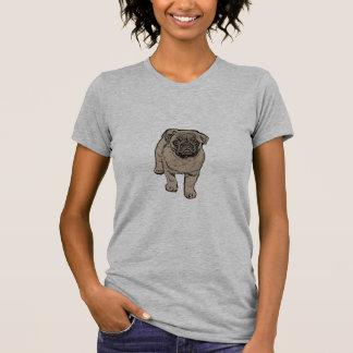 Cute Pug Women's Fitted T-Shirt - Light Gray