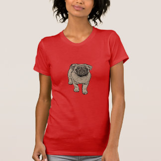 Cute Pug Women's Fitted T-Shirt - Red