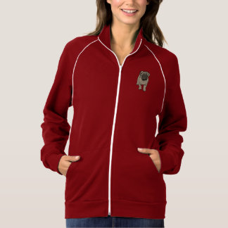 Cute Pug Women's Fleece Track Jacket -Dark Red