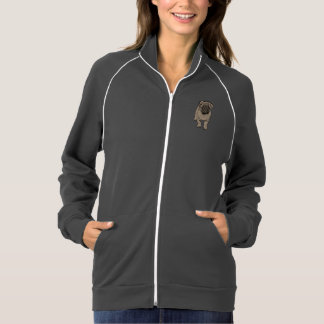 Cute Pug Women's Fleece Track Jacket -Gray