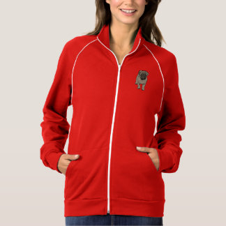 Cute Pug Women's Fleece Track Jacket -Red