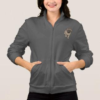 Cute Pug Women's Fleece Zip Jogger -Gray