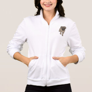 Cute Pug Women's Fleece Zip Jogger -White