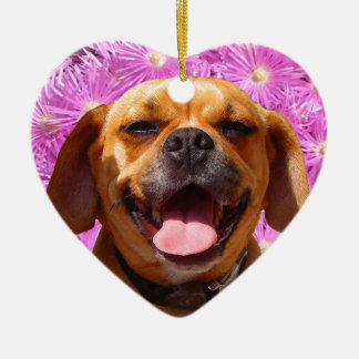 Cute Puggle Christmas Ornament