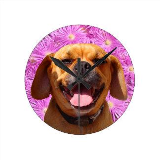 Cute Puggle Round Clock