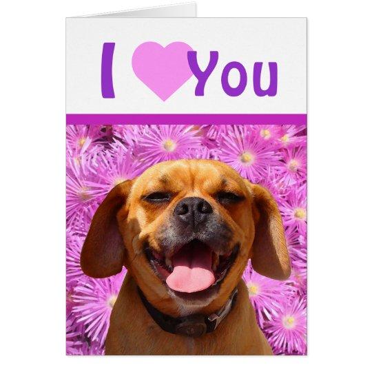 Cute Puggle Valentine Card