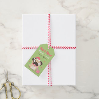 Cute Pugs and Kisses Merry Xmas Gift Tags