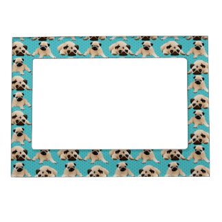 Cute Pugs on Green Dots Magnetic Photo Frames