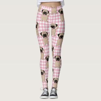 Cute Pugs on Pink Checks Leggings