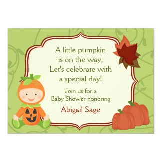 "Cute Pumpkin Baby Halloween Baby Shower Invitation 4.5"" X 6.25"" Invitation Card"