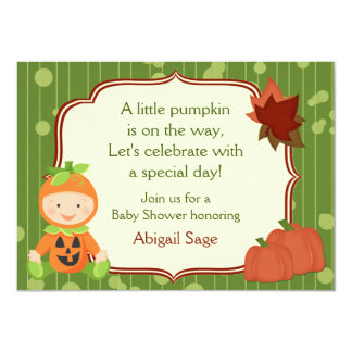 Cute Pumpkin Baby Halloween Baby Shower Invitation