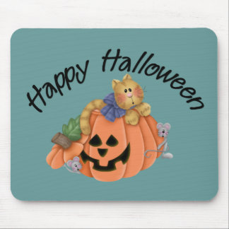 Cute Pumpkin Cat with Mice Happy Halloween D1 Mouse Mat