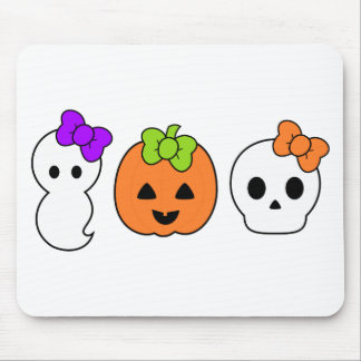 Cute Pumpkin, Ghost and Skull Mouse Mat