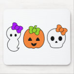 Cute Pumpkin, Ghost and Skull Mouse Pad