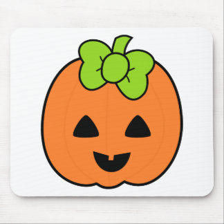 Cute Pumpkin Jack O' Lantern with Cute Bow Mouse Pad