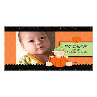 Cute Pumpkin Kids Halloween Photo Card