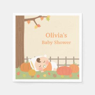 Cute Pumpkin Patch Baby Shower Napkins Paper Serviettes