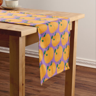 Cute Pumpkin Pattern on Purple Background Short Table Runner