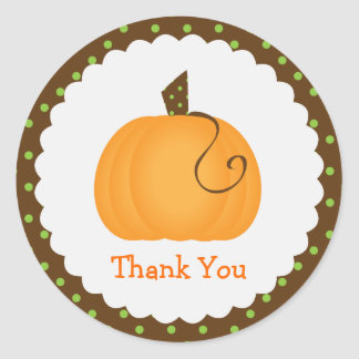 Cute Pumpkin Thank You Stickers