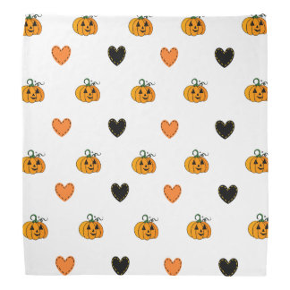 Cute Pumpkins and Heart Patches Halloween Bandanna