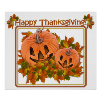 Cute Pumpkins in Fall Leaves Poster