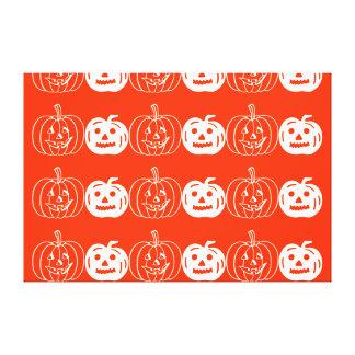 Cute pumpkins stretched canvas print