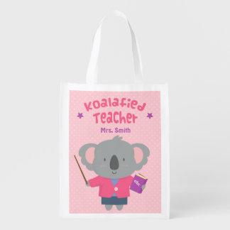 Cute Pun Humor Koala Bear Female Teacher Reusable Grocery Bag