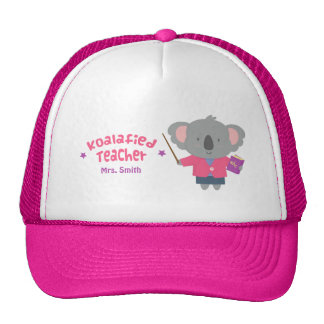 Cute Pun Humor Koala Bear Teacher Trucker Hats