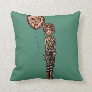 Cute Punk Cartoon of Girl Holding Lion Balloon Cushions